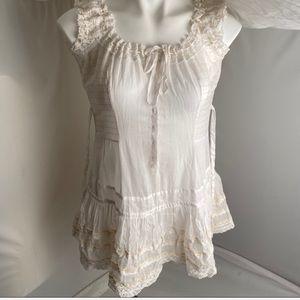 Free People white sheer sleeveless boho blouse 8